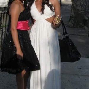 BCBG MaxAzria cutout white gown